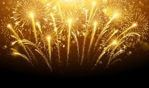44988042 - holiday fireworks on dark background. vector illustration