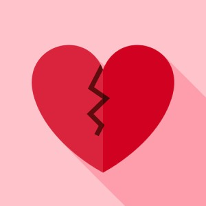 51518137 - broken heart icon. flat design vector illustration with long shadow. happy valentine day and love symbol.